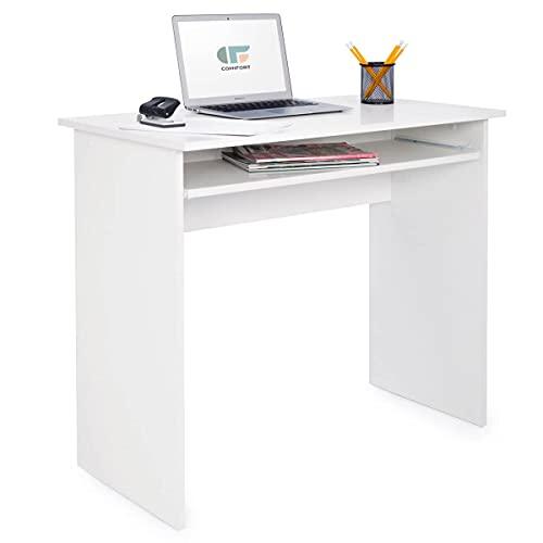 COMIFORT Mesa de Ordenador con Bandeja Extraíble - Escritorio Robusto de Estilo Moderno y Minimalista, para Despacho o Sala de Estudio, Color Blanco