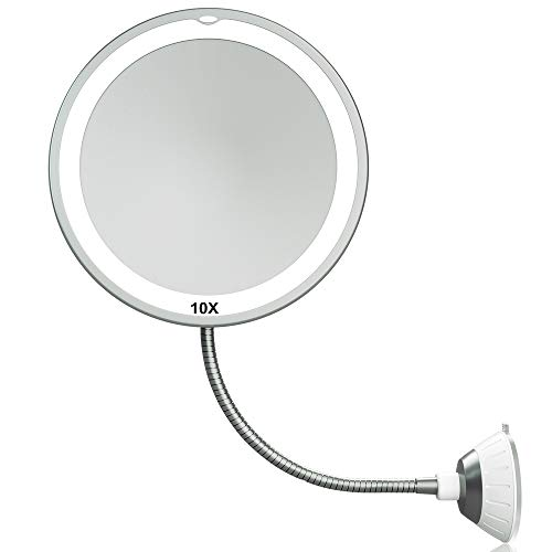 Magnifying Makeup Mirror 6.8' 10X Magnifying Mirrors 360° Adjustable Flexible Gooseneck Suction Cup Daylight, Battery Operated, Cordless & Travel Mirror