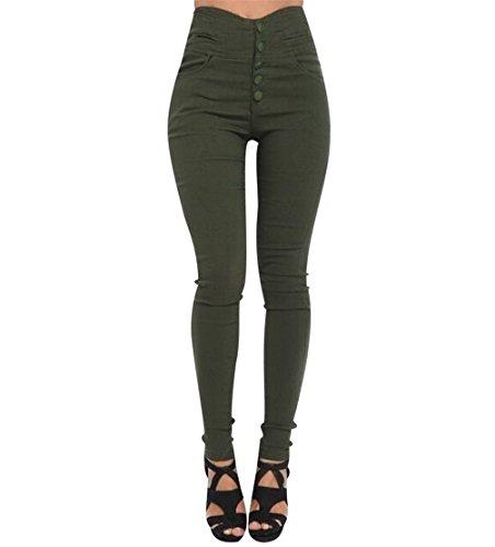 Pantalones Cintura Alta Skinny Mujer Pantalon Slim Tiro Alto Mujer Jeggings Botón Leggins Push Up Señora Leggings Pantalones Talle Alto Deportivos Elasticos Mujer Tallas Grandes Ejercito Verde 2XL