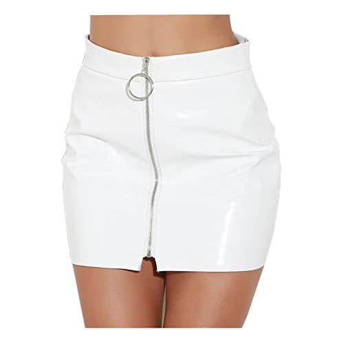 WSLCN Damen Lederrock Minirock Künstlich Lackleder Reißverschluss Slim Fit Sexy Skirt Clubwear Weiß M (Länge 38cm /Taille 68cm)