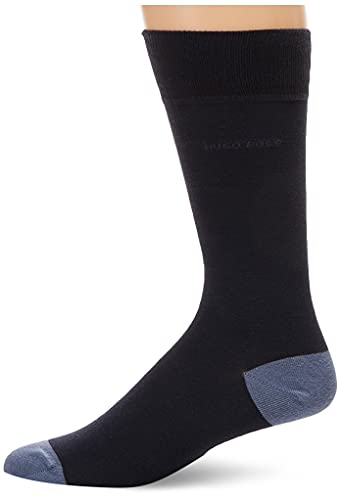 Hugo Boss - Calcetines de algodón para hombre, Azul marino, 7-13, 1 par