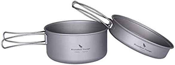 Boundless Voyage Titanium 2-Piece Pot and Pan Set 1000ml+500ml Folding Handle for Outdoor Camping Cooking Hiking Backpacking Portable Tableware Cookware