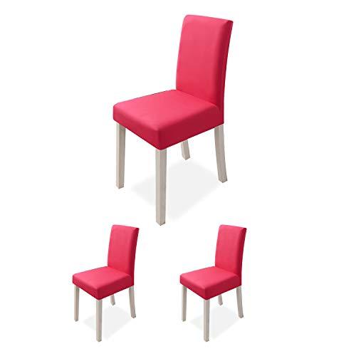 VanderHOME Stuhlhussen Stretch Esszimmer Stuhlhussen Polyester Stuhl Sitzschutz Schonbezug für Küche Hochzeit Partys Bankett 2 Stück Set, Hellrot