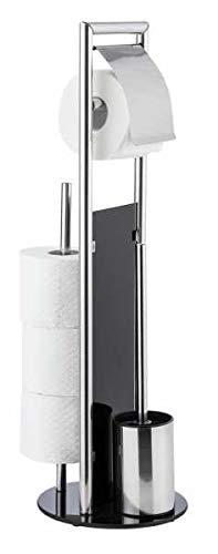 WENKO WC Garnitur Set Ravina stehend Edelstahl mit Toilettenpapierhalter Toilettenbürste Ersatzrollenhalter
