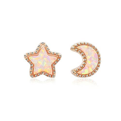 OTXA 925 Silver Star Moon Stud Pendientes de Oro Rosa para Mujer Ópalo pequeño Pendientes Boda Plata 925 Joyería