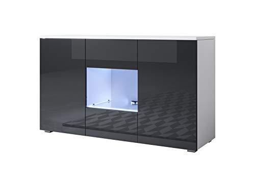 muebles bonitos Aparador Modelo Luke A2 (120x72cm) Color Blanco y Negro con Patas estándar