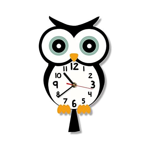 GZQDX Bonito reloj de pared con estampado de diseño de animales de dibujos animados, reloj de pared silencioso para bebé colorido, decoración para el hogar, arte, dormitorio, sala de estar, dormitorio