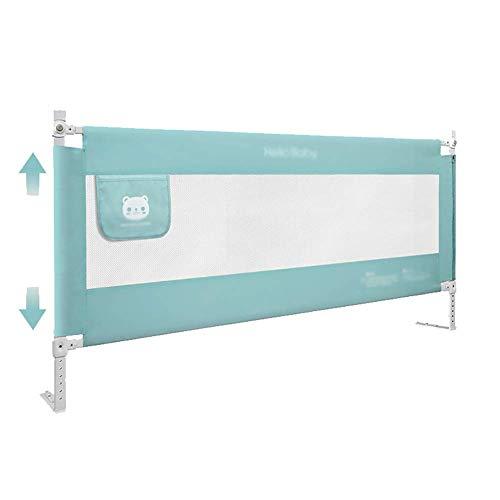 Relaxbx Baby-Anti-Fall-Bettgeländer, vertikal anhebbar und absenkbar, 8 höhenverstellbar, einseitig, Mintgrün, 150 cm/180 cm/200 cm (Größe:150 cm)