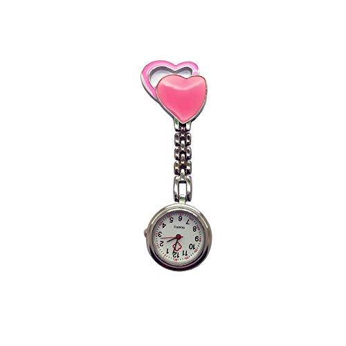 KJFB - Broche para reloj de enfermera, reloj de enfermera, reloj de enfermería con doble corazón para enfermeras, reloj de bolsillo Sporter (color de rosa)