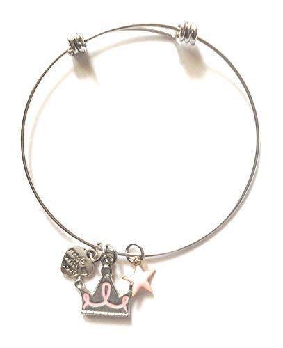 Pulsera rígida con colgante de corona, corazón y estrella esmaltada rosa de acero hipoalergénico