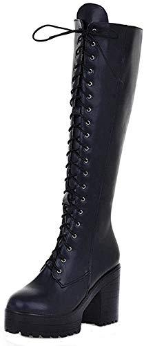 BeiaMina Mujer Moda Botas altas Tacon Ancho Lace Up botas rodillas Tacones ...