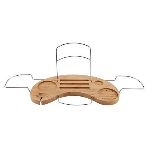 Badewannenbrett aus Bambus und Metall, Ausziehbar Badewannenauflage, Badewannen Ablagen, mit Getränkehalter, Buchstütze und Seifenhalter