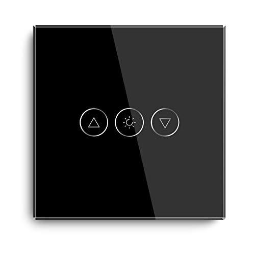 BSEED Atenuador Smart Alexa Interruptor de Luz 300W Control Táctil WIFI Interruptor de Luz de Pared Compatible con LED (Se Necesita Alimentación Neutra) con Alexa/Tuya/Google Home 1 Gang 1 Vía Negro