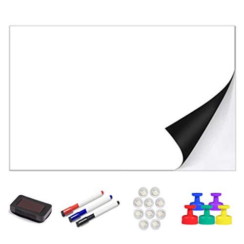 Papel de borrado en seco Pizarra blanca autoadhesiva Etiqueta adhesiva magnética gruesa 100x60cm 39x24 Tablero blanco suave Pelar y pegar para la oficina de la escuela Inicio Niños