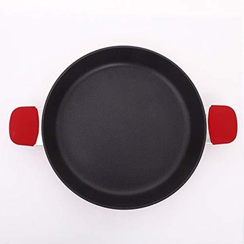 EOVL Paellera,sartén,sartén antiadherente,sartén,sartén pequeña, aleación de aluminio,doble asa de alto rendimiento,cocina de inducción universal,fácil de limpiar, rojo batería de cocina / 36cm