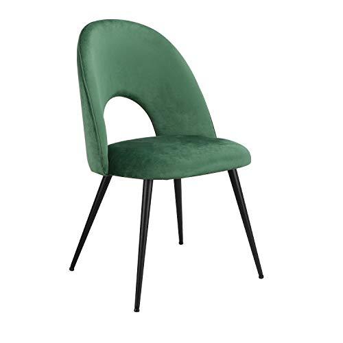 2 sillas de terciopelo estilo nórdico negro arena suave y elegante comedor sala de estar dormitorio oficina apartamento hotel biblioteca (verde L)