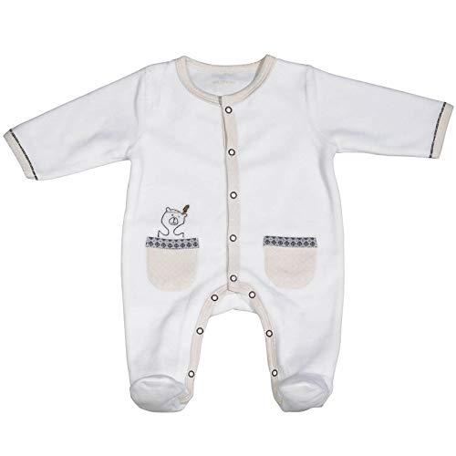 Pyjama bébé blanc ours 1 mois Timouki - Sauthon