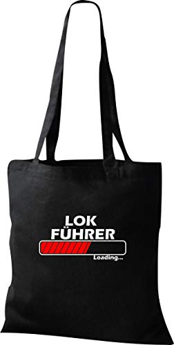 Shirtstown Stoffbeutel, Lokführer Loading, Spruch Sprüche, Tasche Beutel, Jute, Shopper, einkaufen Logo Motiv, Farbe Schwarz