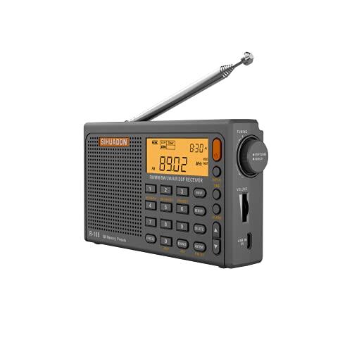 SIHUADON R-108 Pocket Radio Portable Radioo FM AM SW Airband Radio with Loudspeaker LCD Display...