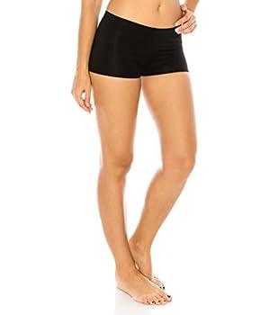 CNC STYLE A001 Women s Regular/Plus Soild Stretch Mini Dance Yoga Workout Underskirt Pant Cotton Booty Shorts Leggings Underwear,Large Black