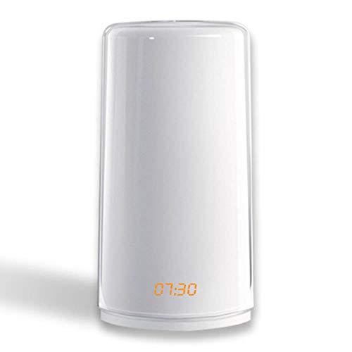 Oyria Wake Up Light Wecker mit Sonnenaufgangs/Sonnenuntergangssimulation Dual Alarm Touch Control Dimmbare Nachttischlampe mit 5 wiederaufladbaren Naturgeräuschen, 7 farbenfrohe Atmosphärenlampe