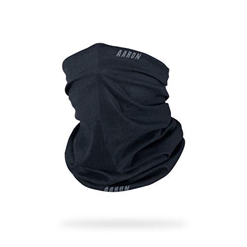 AARON Neck Sport Multifunktionstuch für Damen und Herren - Nahtloser Schlauchschal in schwarz - thermoregulierend und atmungsaktiv - Halstuch für Sport, Fahrradfahren, Motorrad