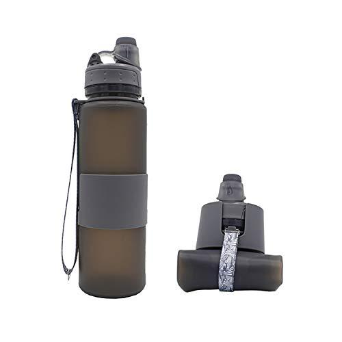 Botella de agua plegable plegable para viajes, camping, senderismo, deportes, grado de alimentación, a prueba de fugas, sin BPA, 22 oz (gris)