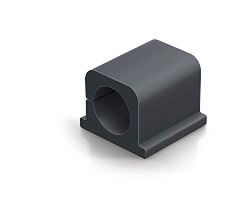 Durable 504337 Kabel Klemmen Cavoline Clip Pro 2 (selbstklebend für 2 Kabel, Ø 14 mm) 4 Stück, graphit