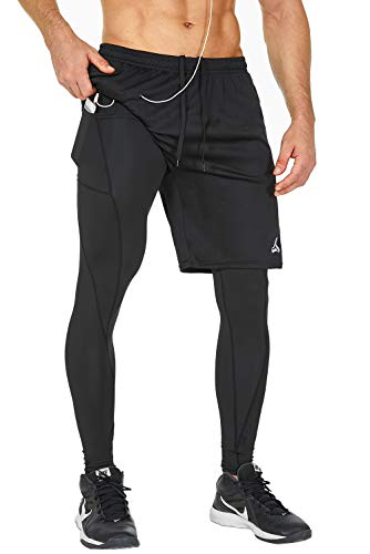 SILKWORLD Men's 2 in 1 Running Compression Tights Pants Mesh Athletic Workout Gym Legging,Black,Medium