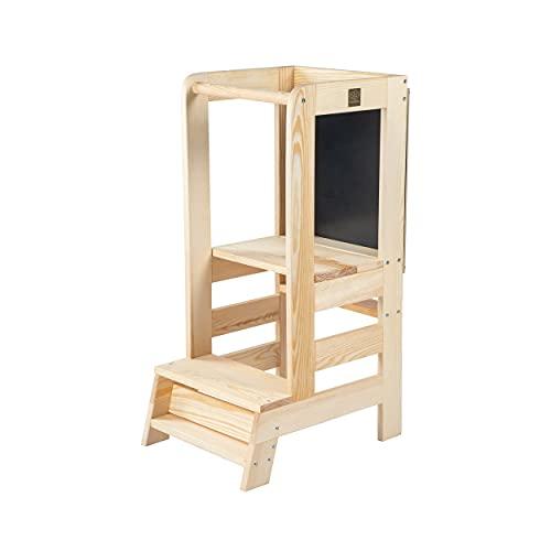 MEOWBABY Torre di Apprendimento per Bambini in Legno Made in EU Montessori Learning Tower Lavagna