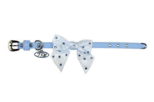 Trilly tutti Brilli Lia Collier pour Chien avec nœud décoré Swarovski Bleu Clair 30 cm
