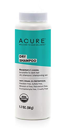 ACURE Dry Shampoo - Brunette to Dark Hair | 100% Vegan | Certified Organic | Performance Driven Hair Care | Cocoa & Rosemary - Absorbs Oil & Removes Impurities Without Water | 1.7 Fl Oz