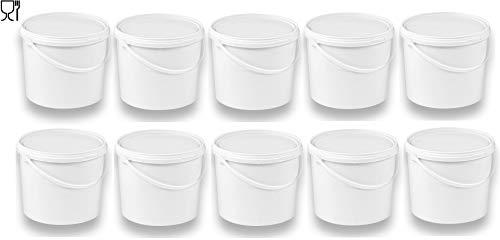 10 x 5 Liter Eimer mit Deckel weiß, stapelbarerer Milch-/Vorratseimer, Honigeimer Kunststoffeimer mit Lebensmittelfreigabe, Lebensmittelechte Behälter, Leereimer für Mehl, Wassereimer, 10 Stück