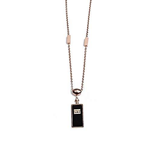 Yaoliangliang Collar Botella de Perfume Negra Colgante Suéter Cadena Mujeres Collar Largo Salvaje