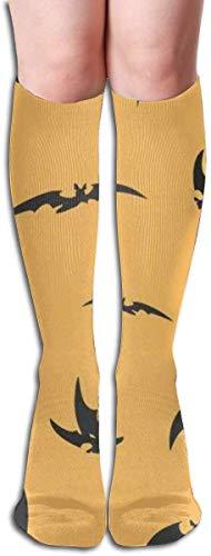 zhouyongz Medias de fantasía murciélagos siluetas de Halloween Multi colorido patrón rodilla calcetines altos