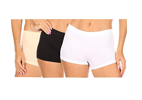 Sakkas BS0210PL Women's Seamless Stretch Panties/Boy Shorts - Assorted Color 6 Pack - Solid - One Size