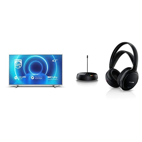 Philips 43PUS7555/12 Televisor 4K UHD de 43' (P5 Engine, Dolby Vision∙Atmos, HDR 10+, Saphi Smart TV) con Auriculares TV Inalámbricos SHC5200/10 (Supraaurales, HiFi, Altavoz 32 mm) Plata/Negro