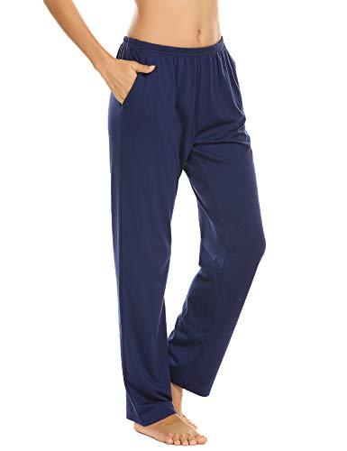 Schlafanzughose Damen Pyjamahosen Lang Jerseyhose Unifarbe Hausehose mit Zwei Taschen, 9750_blau, Gr.- M