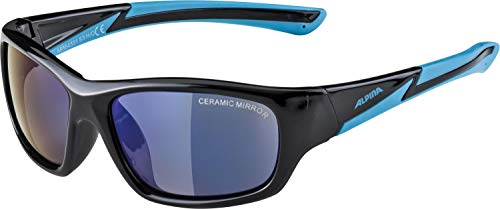 Alpina Kinder Sonnenbrille FLEXXY YOUTH Outdoorsport-brille, Black/Cyan, One Size