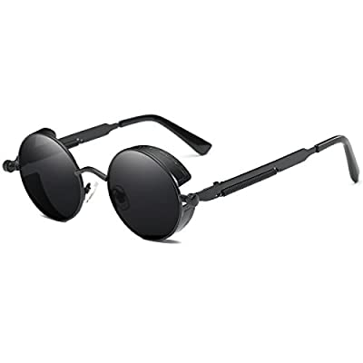 Dollger Round Retro Sunglasses Vintage Steampunk Circle Glasses Blue Lens