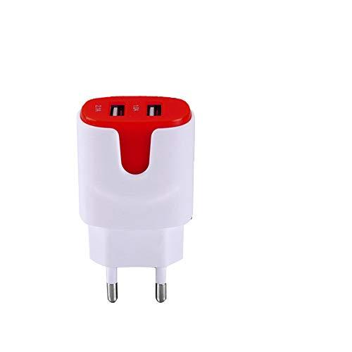 Adaptador de Corriente de Color USB para Samsung Galaxy A20E Smartphone Tableta Doble Toma de Pared 2 Puertos Corriente AC Cargador (Rojo)