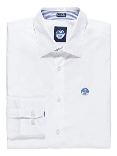 NORTH SAILS Saint-Tropez Herren Hemd in Weiß Popeline Schlanke Passform mit Knöpfen mit Voller Knopfleiste und Langen Ärmeln - 3XL