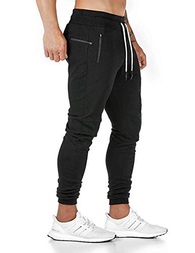 SOMTHRON Uomo Cintura Elastica in Cotone Lungo da Jogging Pantaloni Sportivi Taglie Forti Pantalone Sportivo da Lavoro con Pantaloncini Pantaloni da Jogging Pantaloni Activewear (BL-L)