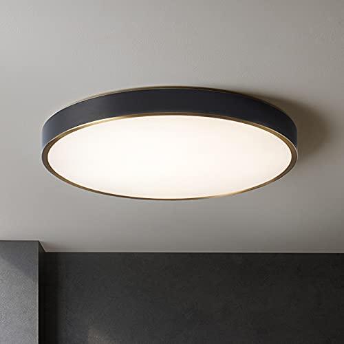 DEDVBJ LED Lámpara de Techo Moderno Ronda Luminaria Luz Ajustable Sencillo Negro Latón Acrílico Pantallas de lámparas Lámpara 20W 3000K Dormitorio Salón Habitación de Niños Oficina Balcón 40x15cm