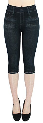 dy_mode Capri Leggings Damen 3/4 Frauen Leggings Jeans Optik - Kurze Sommer Leggings - CLG002 (3LG218-Schwarz | OneSize Gr.36-42)