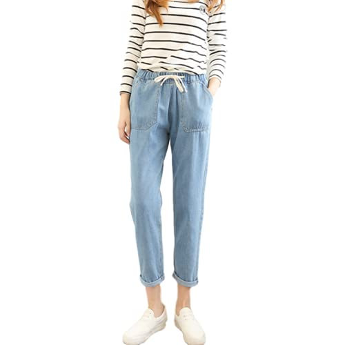Pantalones Vaqueros de Mujer Juniors Denim Cordón de Cintura elástica Bolsa de Papel Bolsillos Pantalones de harén Color sólido XL