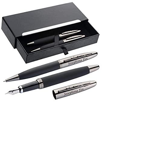 Schreibset MARK®TWAIN aus Metall Drehkugelschreiber und Füller mit Gravur - Eleganter gummierter Schaft Blaue Mine - in schwarzem Geschenketui zum Geburtstag 1339203