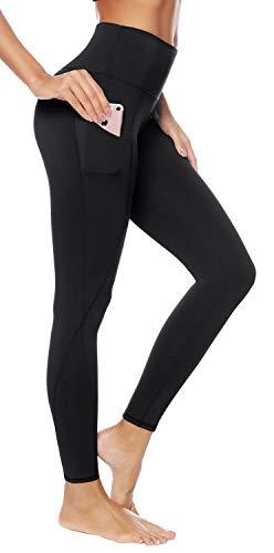 AUU High Waist Yoga Pants, Pocket Yoga Pants Tummy Control Workout Running 4 Way Stretch Yoga Leggings (Black,M)