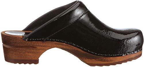 Sanita Damen Classic Patent open Clogs, Schwarz (Black 2), 39 EU