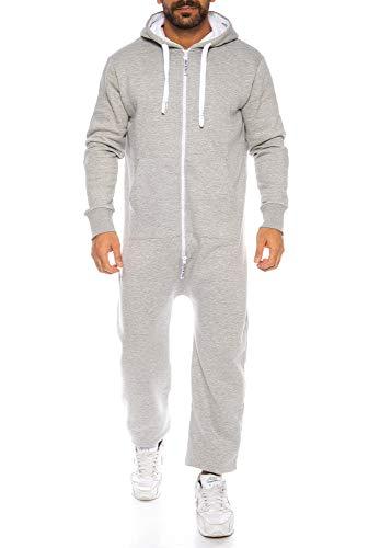 Raff & Taff Herren Jumpsuit Overall Trainingsanzug Fitnessbekleidung Onesie Ganzkörperanzug Basic und Schlicht (Hellgrau (901), 5XL)